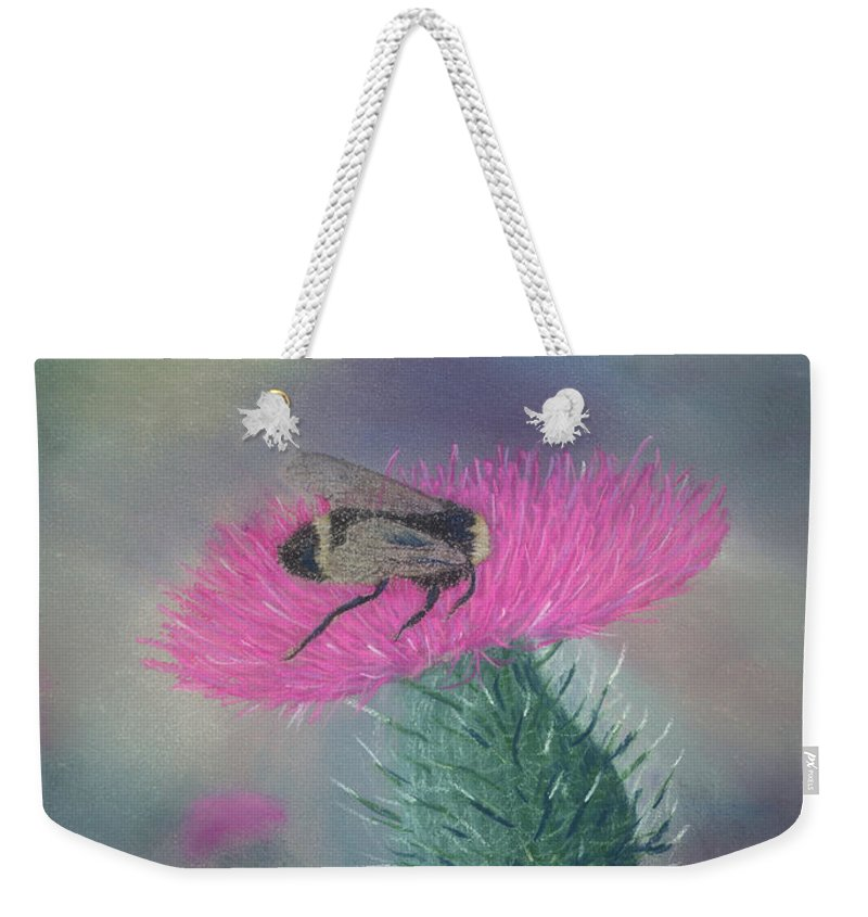 Thistle Weekender Tote Bag featuring the painting Sweet And Prickly by Lynn Quinn