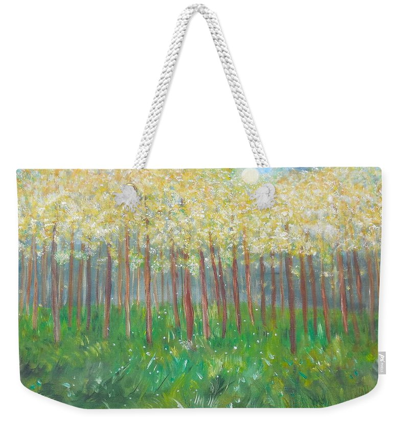 Whimsical Scene Weekender Tote Bag featuring the painting Sweet Dreams And Moonbeams by Sara Credito