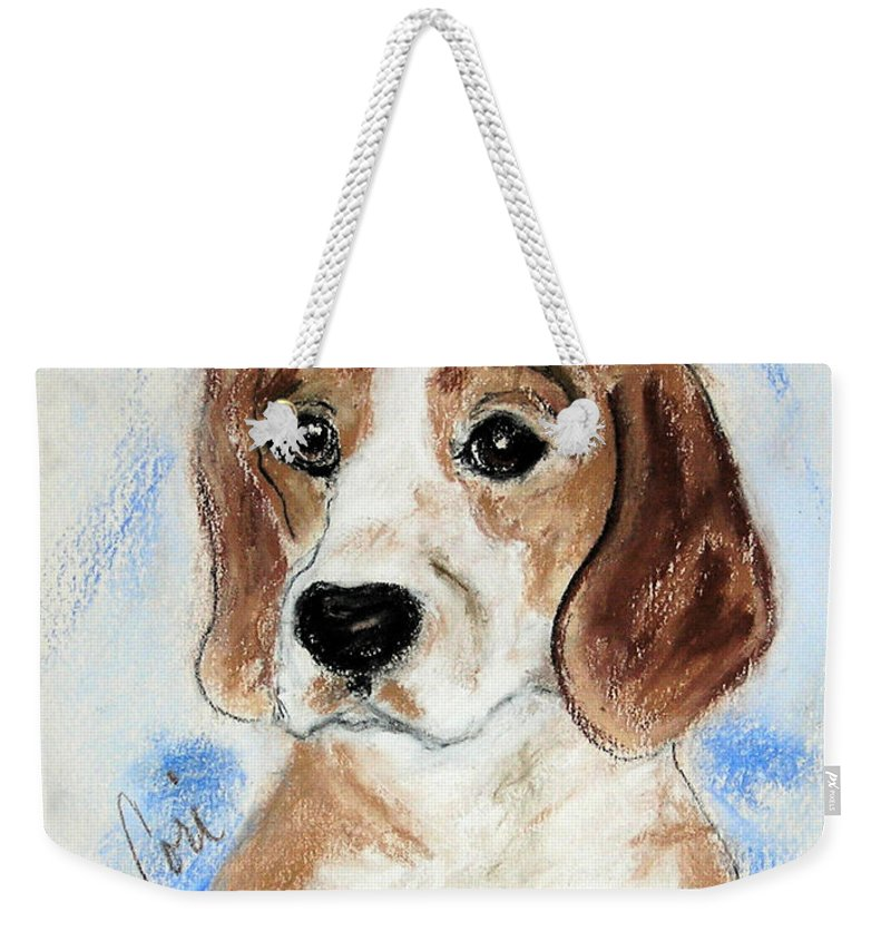 Dog Weekender Tote Bag featuring the drawing Sweet Innocence by Cori Solomon