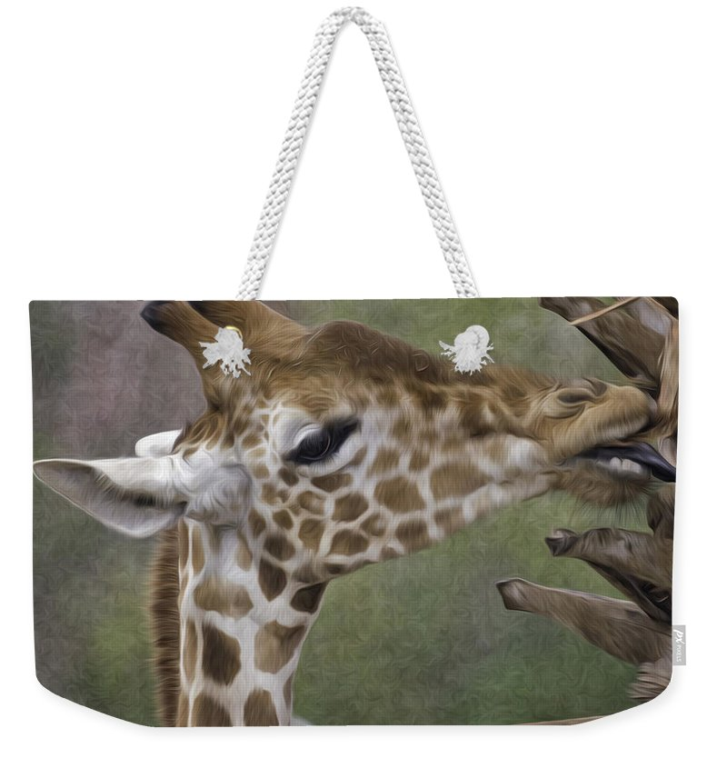 Giraffe Weekender Tote Bag featuring the photograph Sweet Palm Pixelated by James Ekstrom