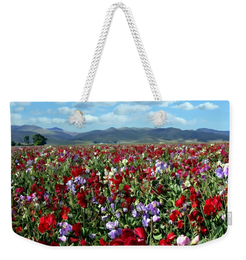Flowers Weekender Tote Bag featuring the photograph Sweet Peas Forever by Kurt Van Wagner