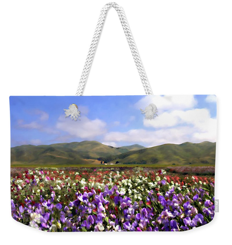 Flowers Weekender Tote Bag featuring the photograph Sweet Peas Galore by Kurt Van Wagner