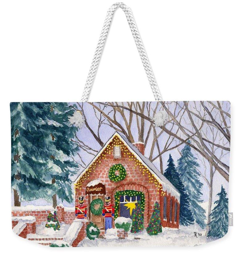 Winter Weekender Tote Bag featuring the painting Sweet Pierre's Chocolate Shop by Rhonda Leonard