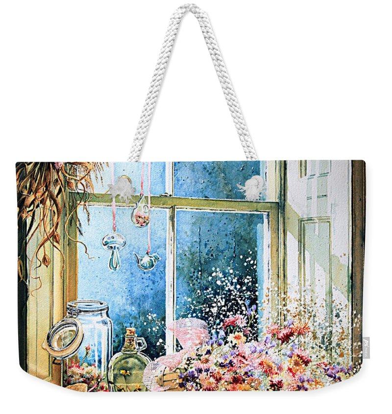 Window Weekender Tote Bag featuring the painting Sweet Scents To Savor by Hanne Lore Koehler