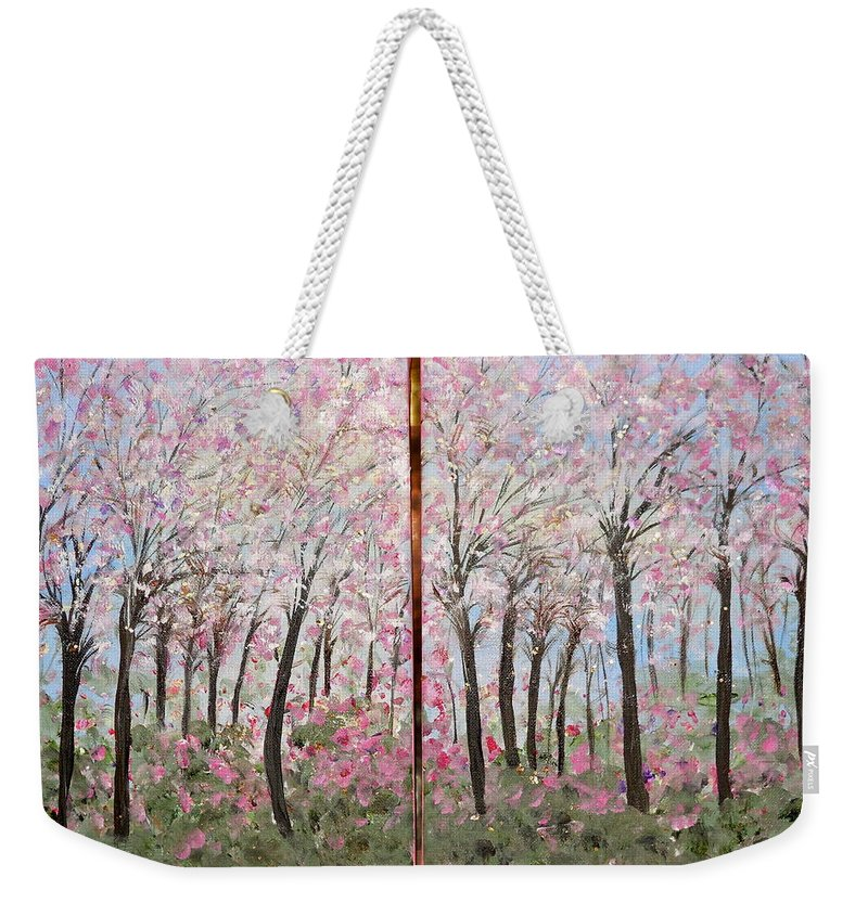 Whimsical Landscape Weekender Tote Bag featuring the painting Sweet Sister by Sara Credito