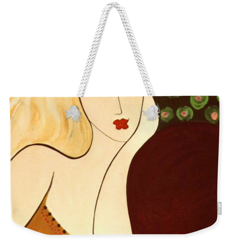 #female Weekender Tote Bag featuring the painting Sweet Sixteen by Jacquelinemari