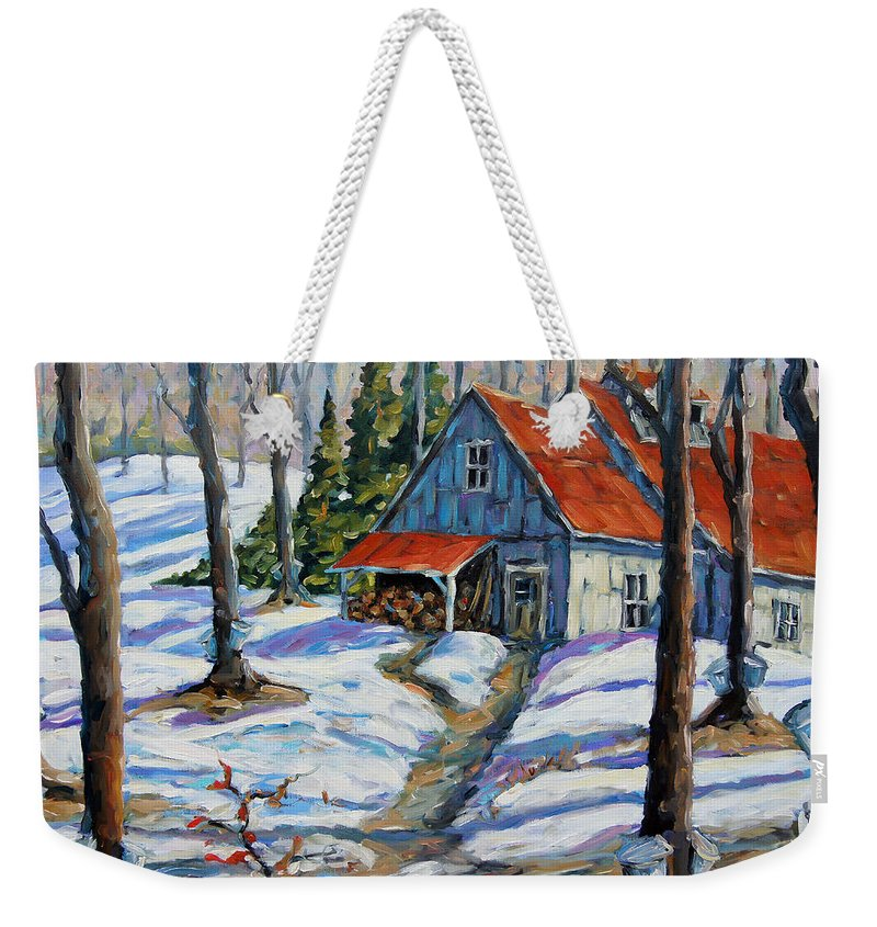 Canadian Artist Painter Weekender Tote Bag featuring the painting Sweet Sugar Shack By Prankearts by Richard T Pranke
