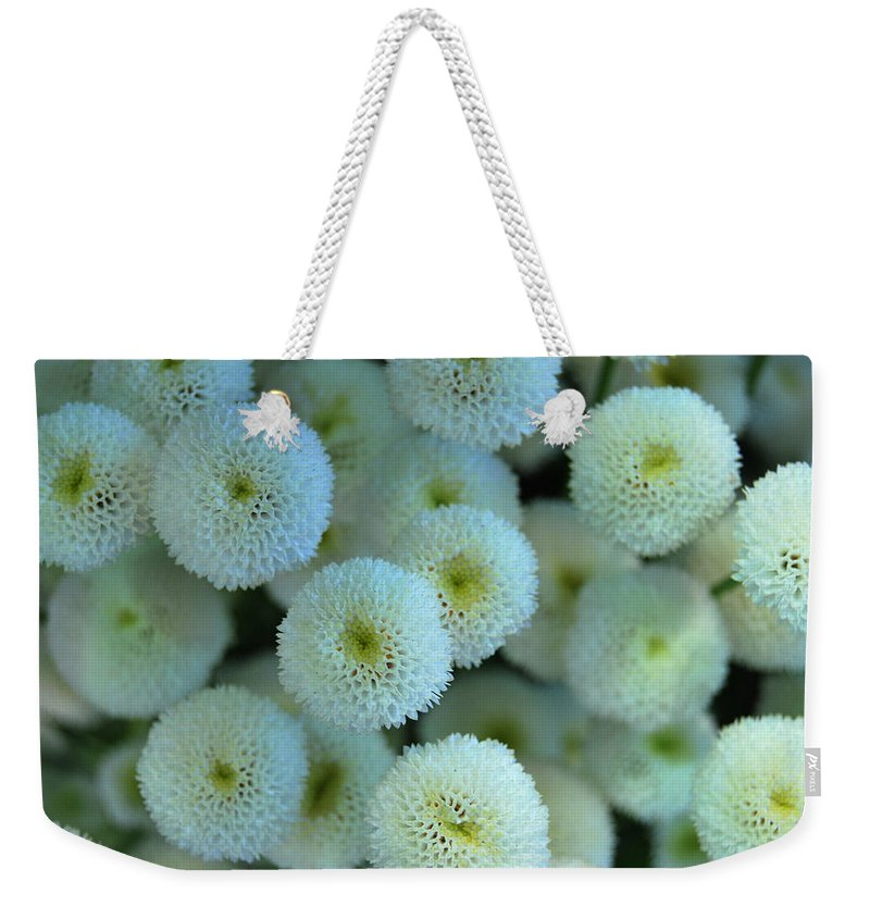 Weekender Tote Bag featuring the photograph Sweet White Angels by Riad Belhimer