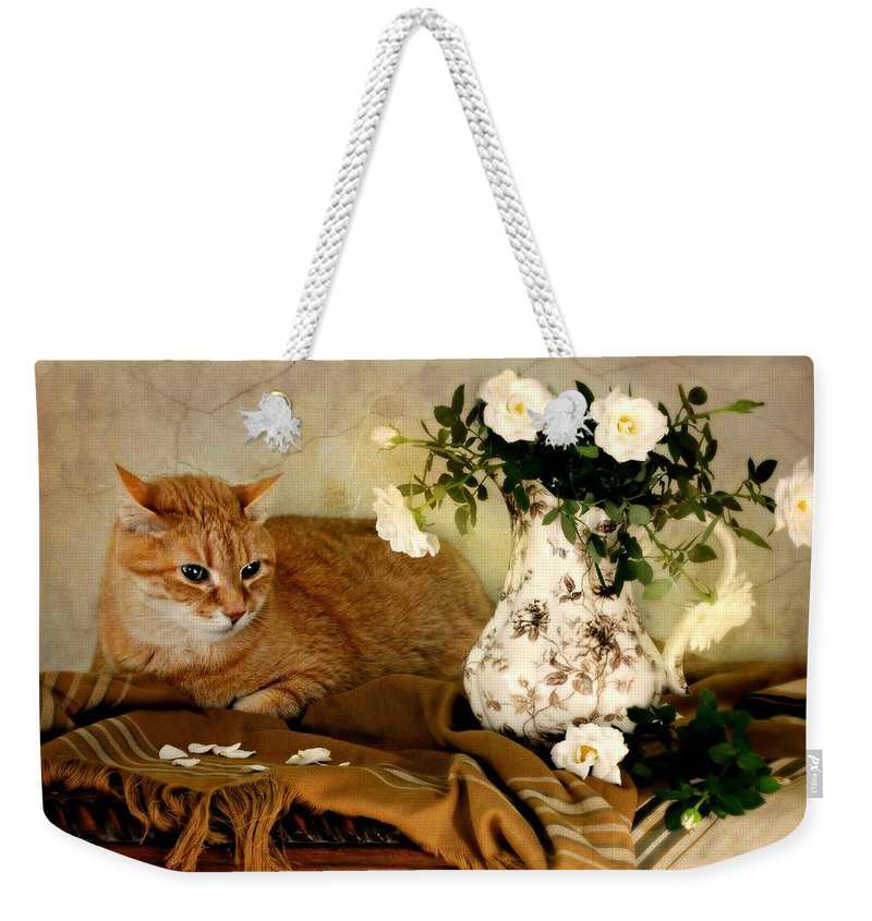 Still Life Weekender Tote Bag featuring the photograph Sweetheart Roses by Diana Angstadt