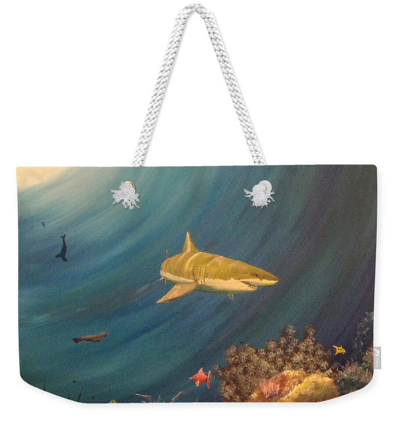 Shark Weekender Tote Bag featuring the painting Swimming With Sharks by Nick Robinson
