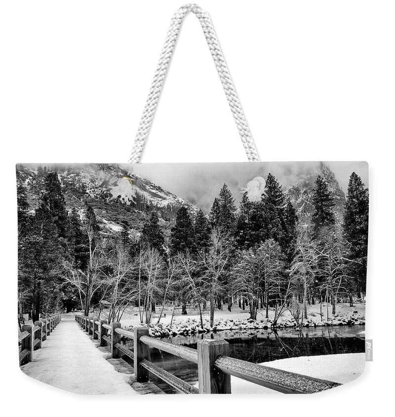 Water Weekender Tote Bag featuring the photograph Swinging Bridge In Winter by Cat Connor