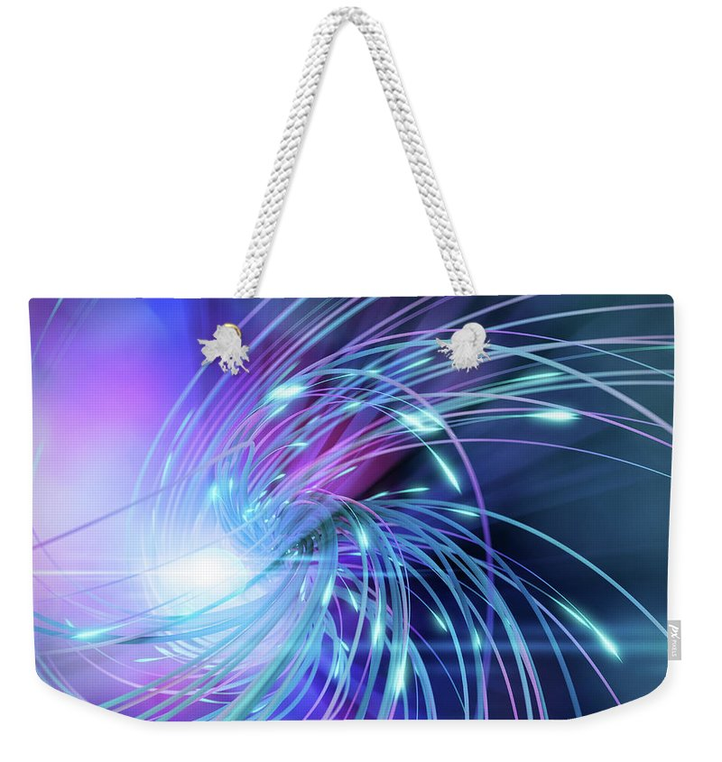 Curve Weekender Tote Bag featuring the digital art Swirl Of Lines With Glowing Ends by Maciej Frolow