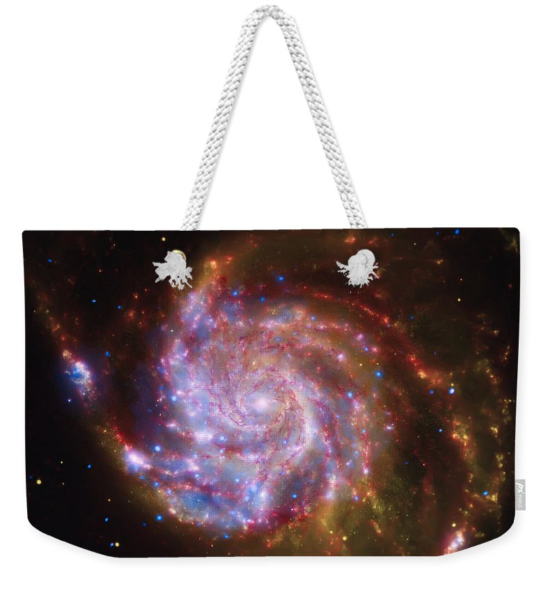 Universe Weekender Tote Bag featuring the photograph Swirling Red Galaxy by Jennifer Rondinelli Reilly - Fine Art Photography
