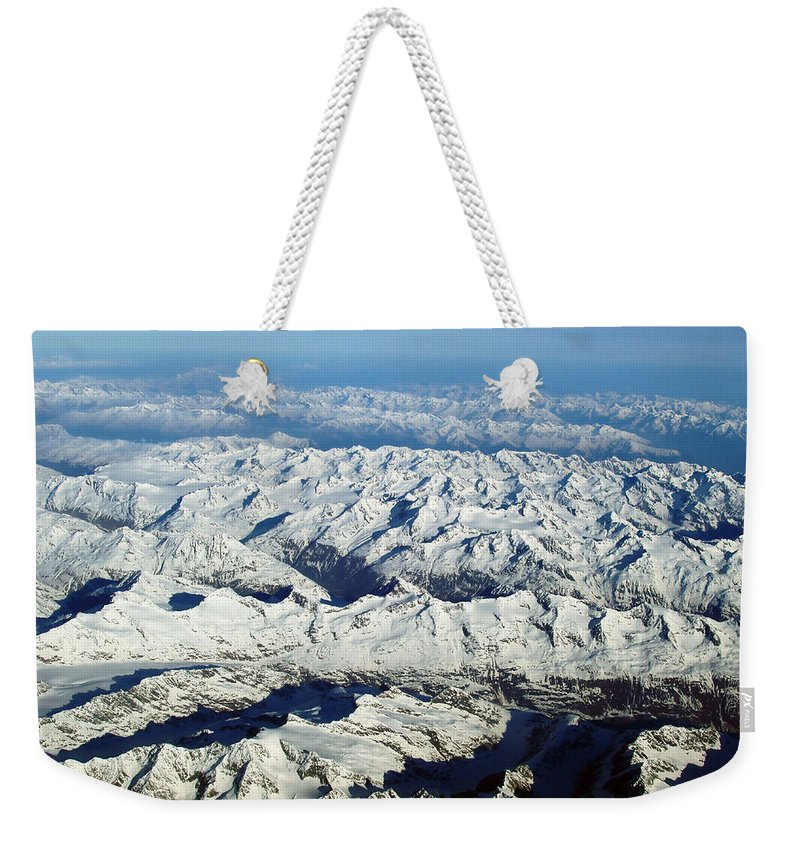 Swiss Alps Weekender Tote Bag featuring the photograph Swiss Alps by Ellen Henneke