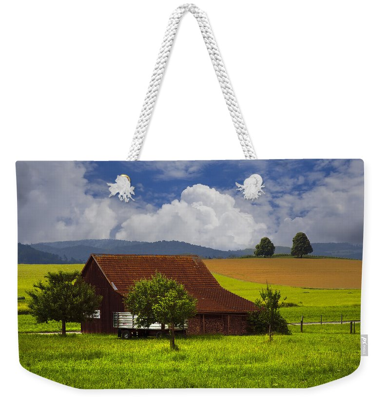 Appalachia Weekender Tote Bag featuring the photograph Swiss Farms by Debra and Dave Vanderlaan