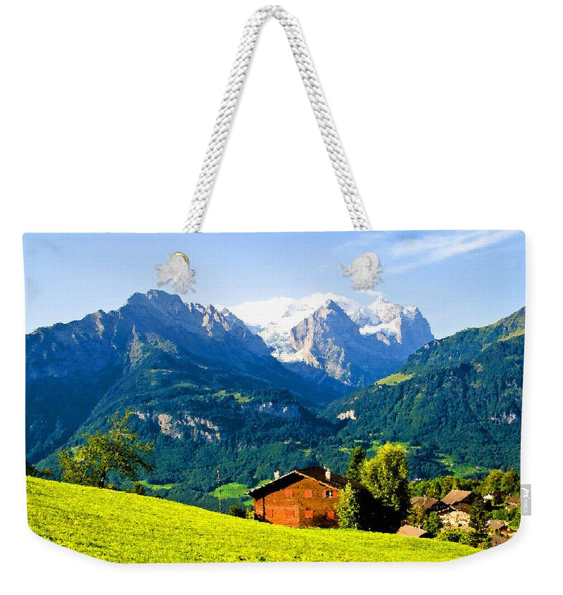 Switzerland Weekender Tote Bag featuring the digital art Switzerland Oil On Canvas by Don Kuing