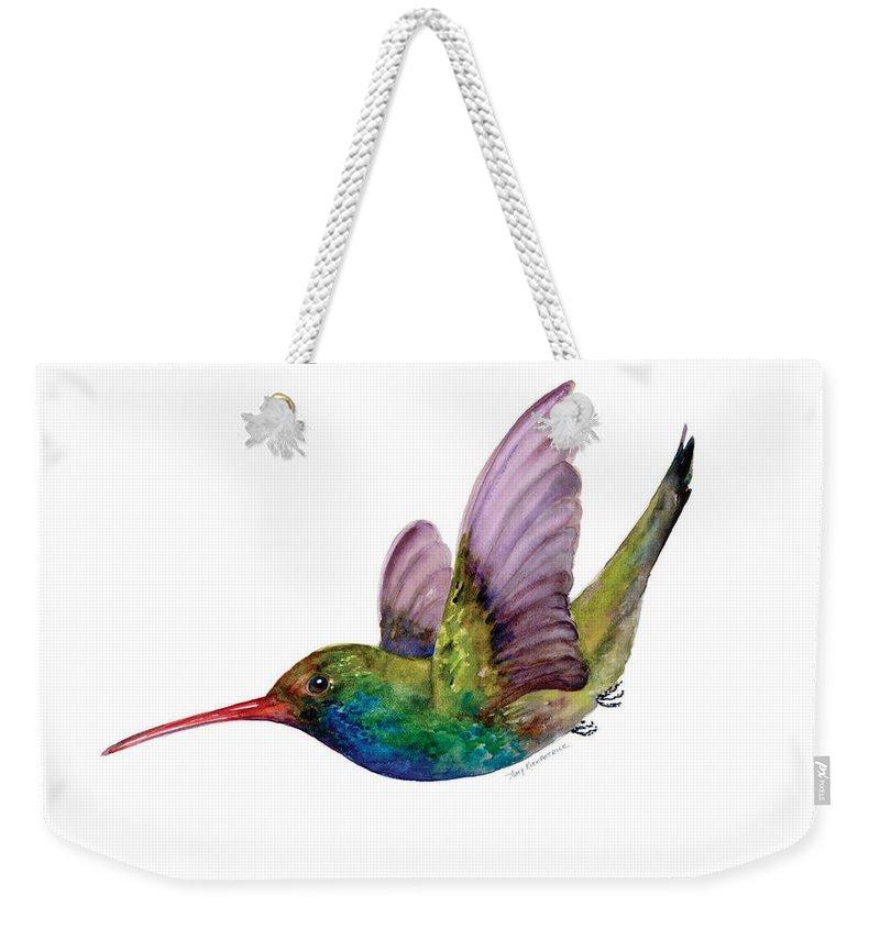 Bird Weekender Tote Bag featuring the painting Swooping Broad Billed Hummingbird by Amy Kirkpatrick