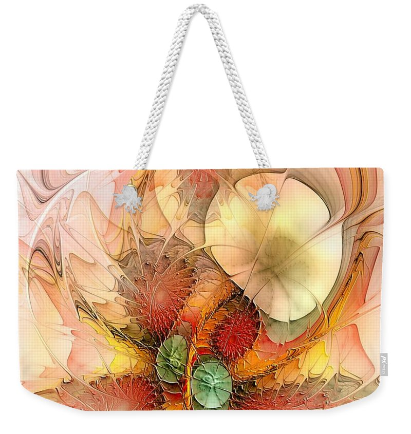 Abstract Weekender Tote Bag featuring the digital art Syncopated Summer Passion by Casey Kotas
