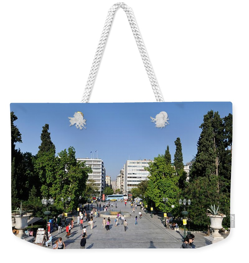 People Weekender Tote Bag featuring the photograph Syntagma Square In Athens by George Atsametakis