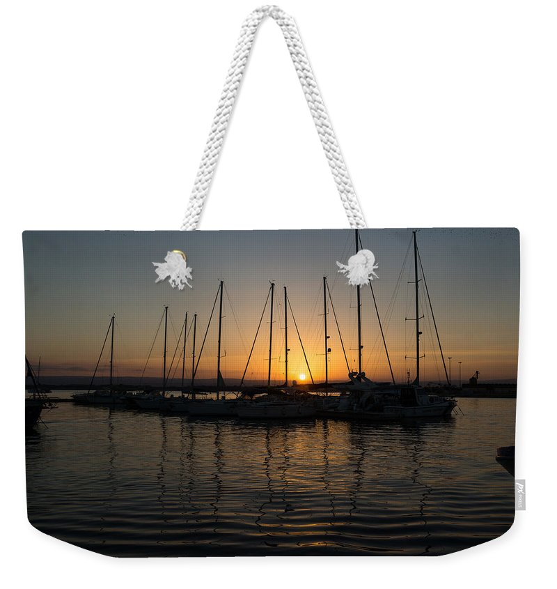 Georgia Mizuleva Weekender Tote Bag featuring the photograph Syracuse Harbor Sunset by Georgia Mizuleva