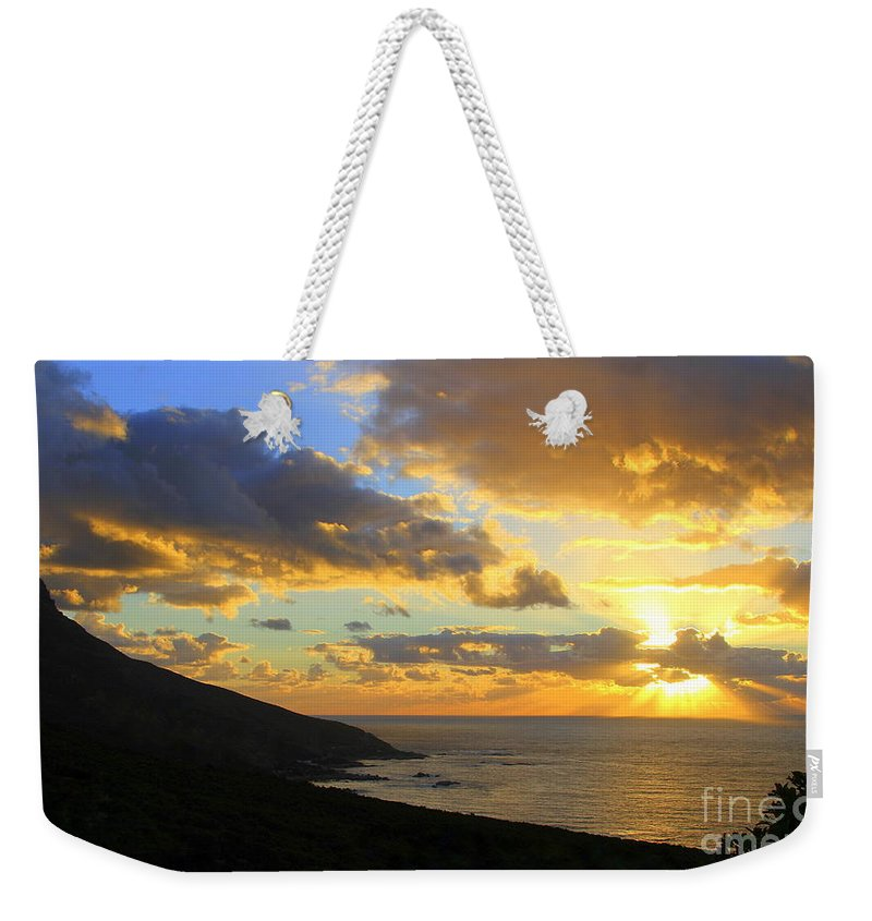 Camps Bay Weekender Tote Bag featuring the photograph Table Mountain South Africa Sunset by Catherine Sherman