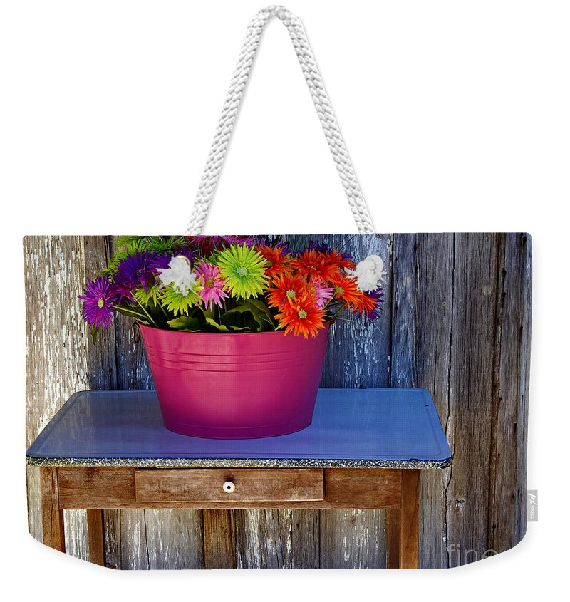 Table Weekender Tote Bag featuring the photograph Table Top Flowers by Gary Richards