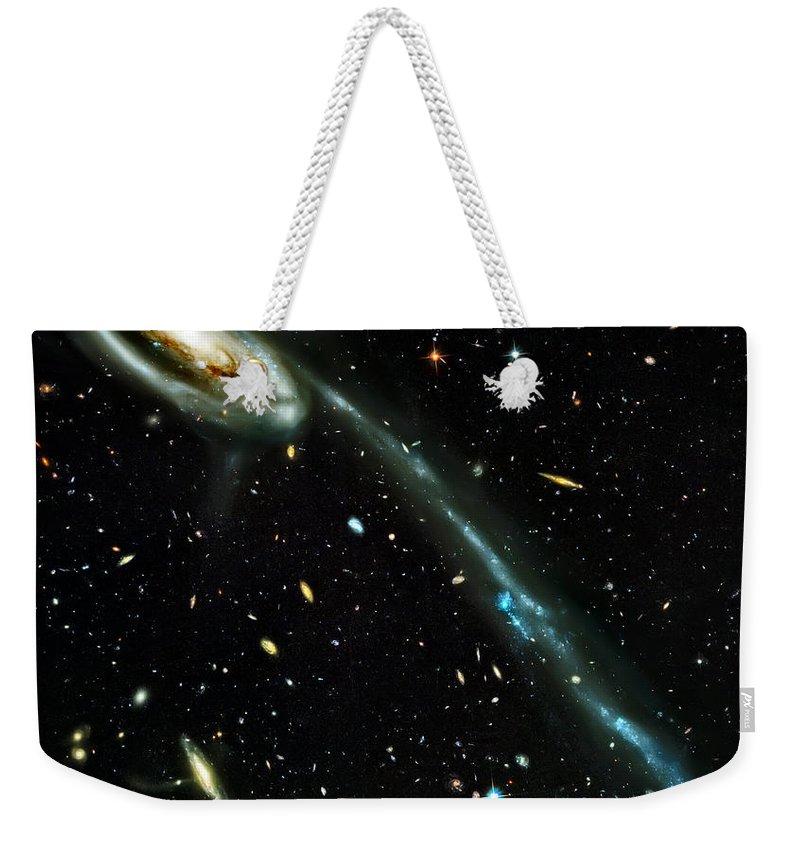 Universe Weekender Tote Bag featuring the photograph Tadpole Galaxy by Jennifer Rondinelli Reilly - Fine Art Photography