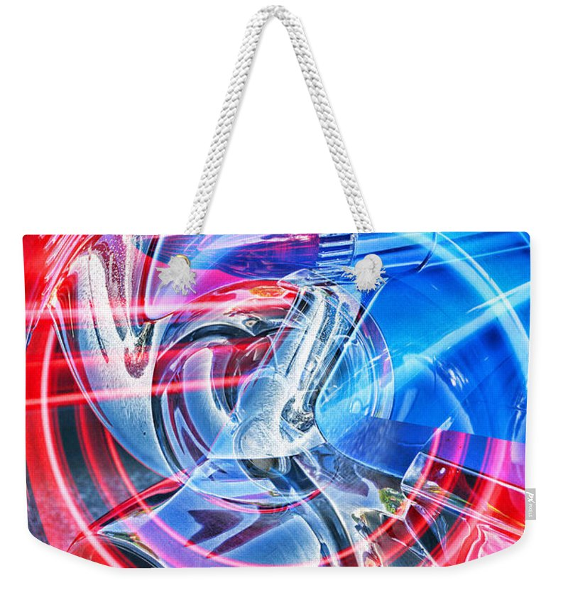 Cars Weekender Tote Bag featuring the photograph Tail Light Abstract by Randy Harris