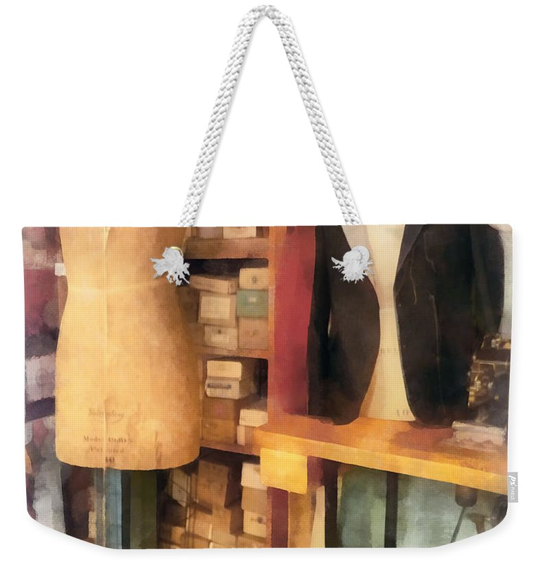 Dressform Weekender Tote Bag featuring the photograph Tailor - A Pair Of Dummies by Susan Savad