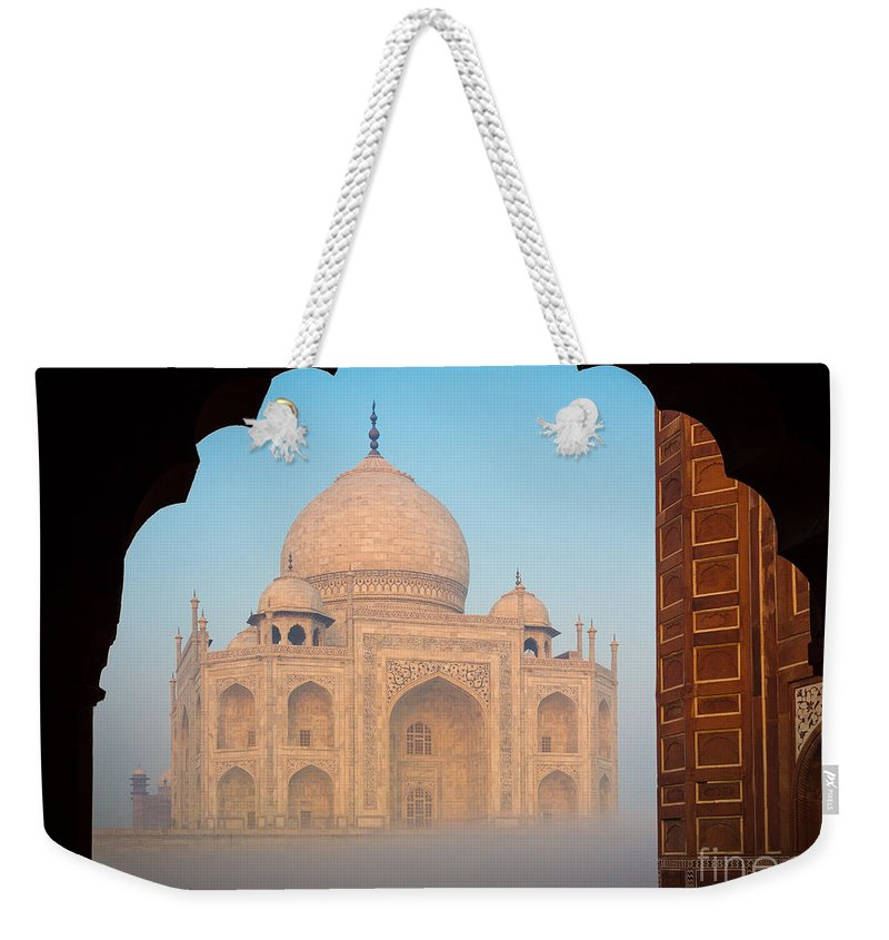 Agra Weekender Tote Bag featuring the photograph Taj Mahal Dawn by Inge Johnsson