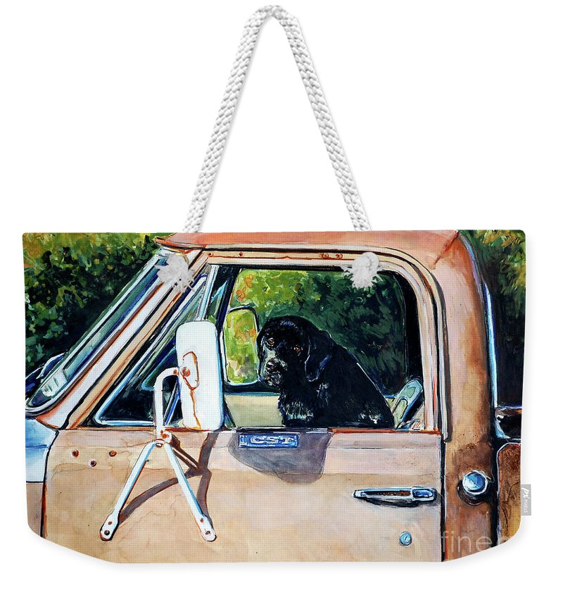 Black Labrador Retriever Weekender Tote Bag featuring the painting Take Me With You by Molly Poole
