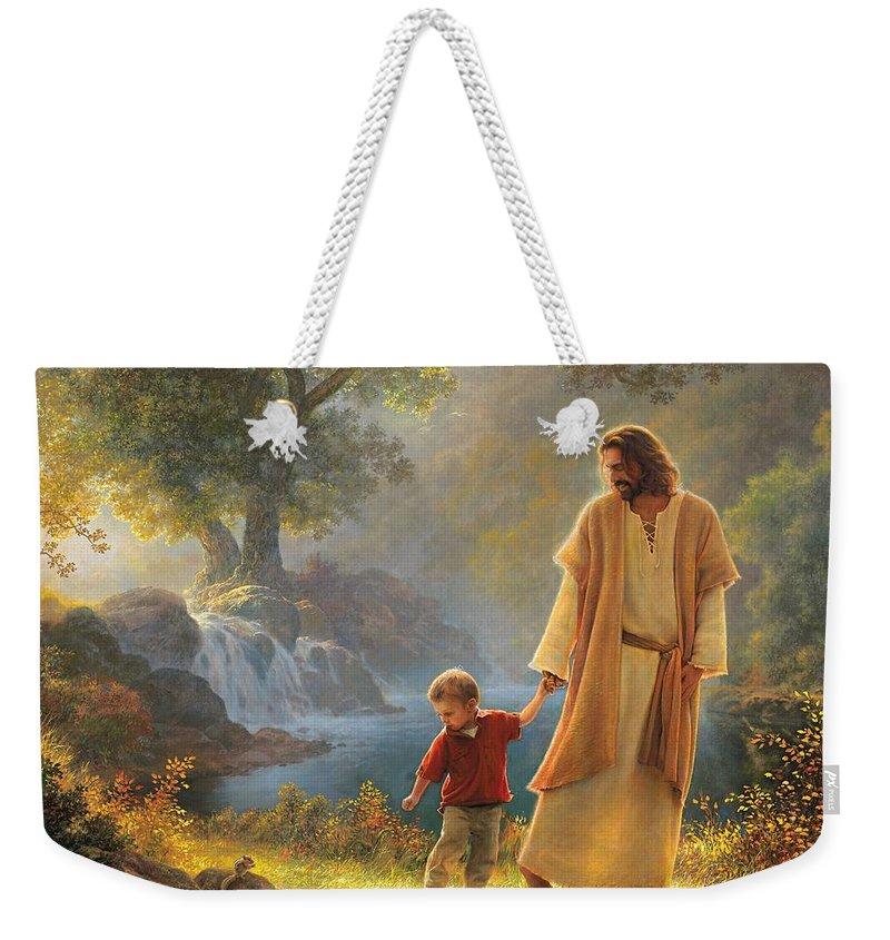 Jesus Weekender Tote Bag featuring the painting Take My Hand by Greg Olsen