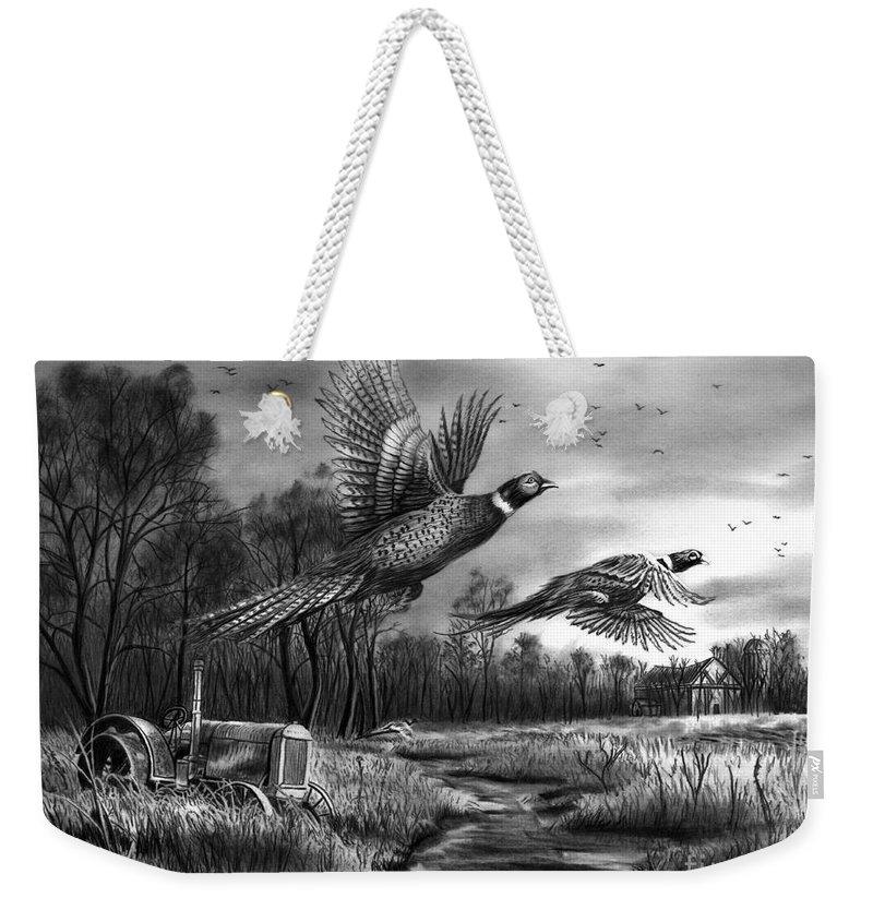 Taking Flight Weekender Tote Bag featuring the drawing Taking Flight by Peter Piatt