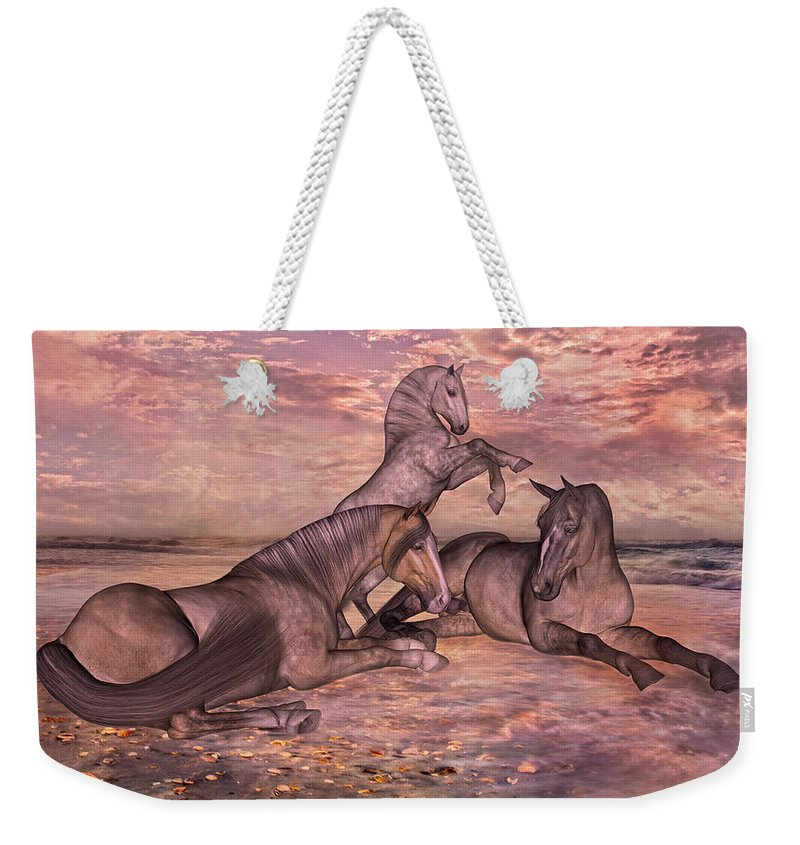 Beach Weekender Tote Bag featuring the mixed media Taking It Easy by Betsy Knapp
