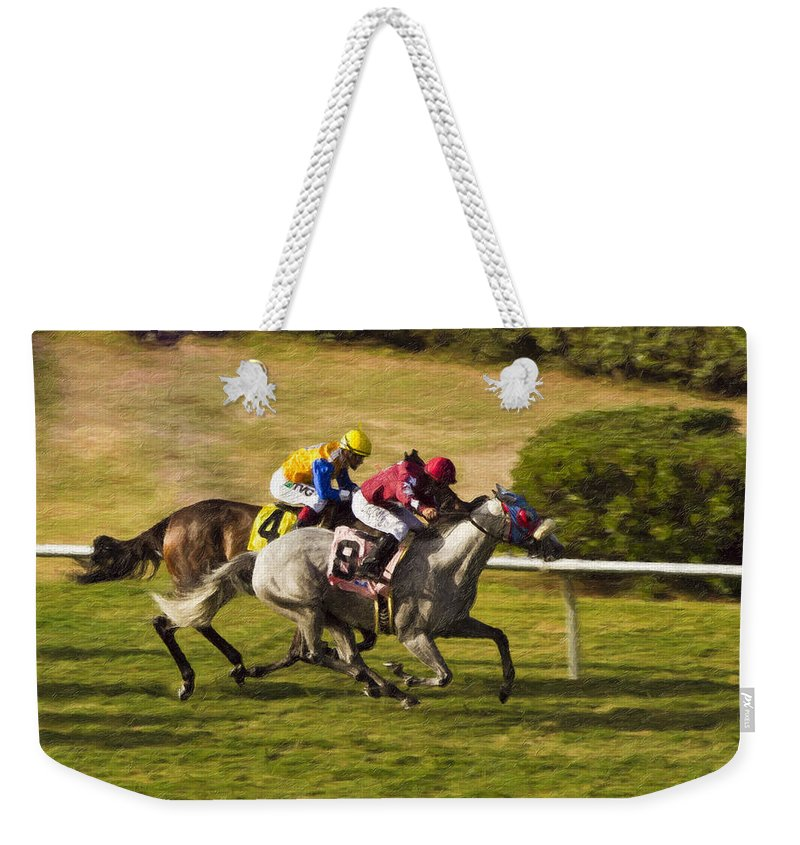 Del Mar Weekender Tote Bag featuring the painting Taking Over - Del Mar Horse Race by Angela Stanton
