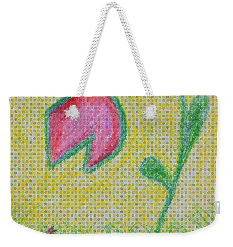Garden Weekender Tote Bag featuring the painting Talking In The Garden by Donna Blackhall
