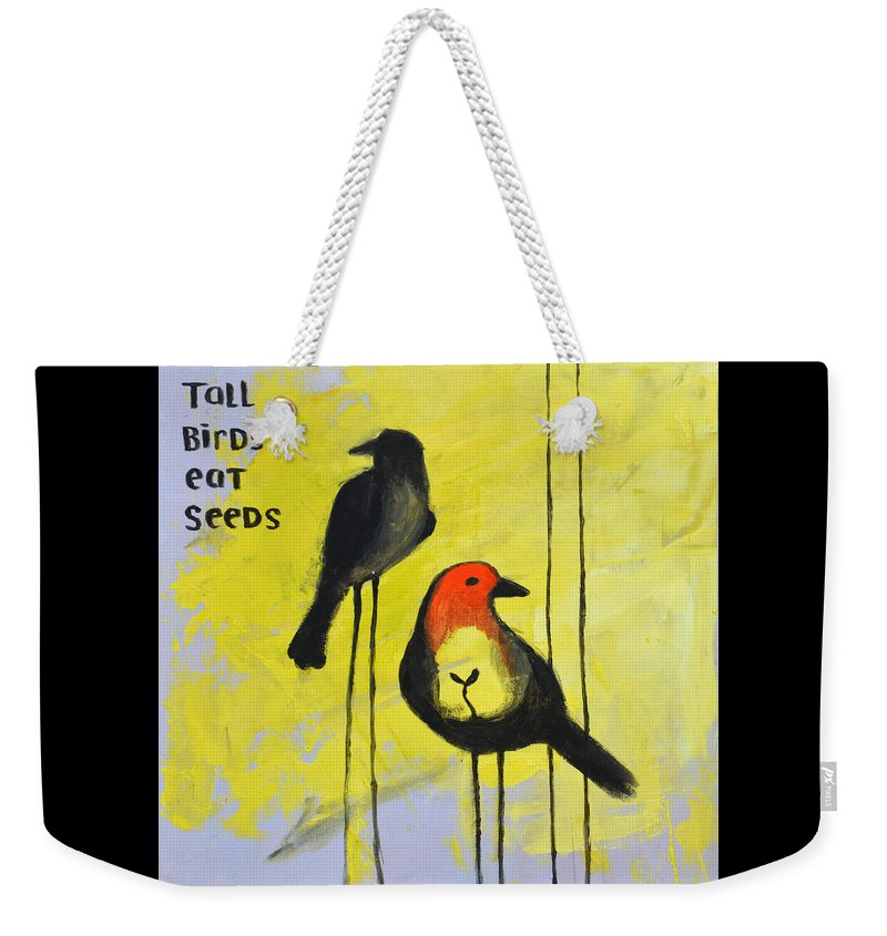 Bird Weekender Tote Bag featuring the painting Tall Birds Eat Seeds by Melissa Peterson