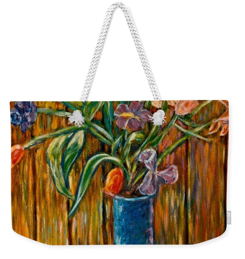Vase Of Flowers Weekender Tote Bag featuring the painting Tall Blue Vase by Kendall Kessler