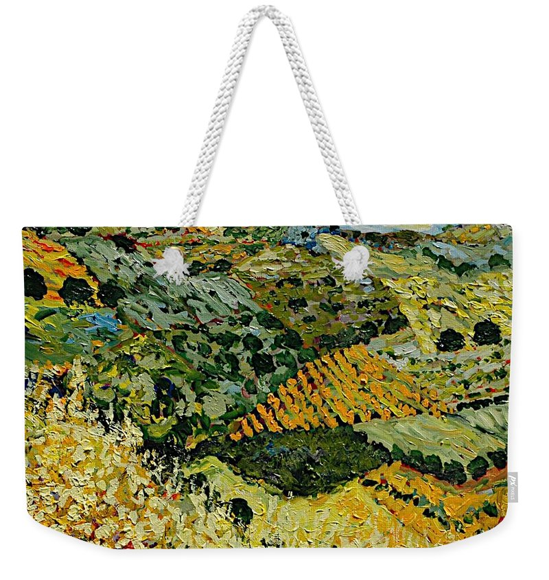 Landscape Weekender Tote Bag featuring the painting Tall Grass by Allan P Friedlander