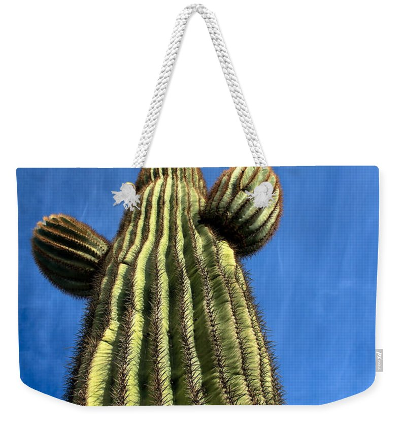 Cactus Weekender Tote Bag featuring the photograph Tall Saguaro Cactus by Robert Bales