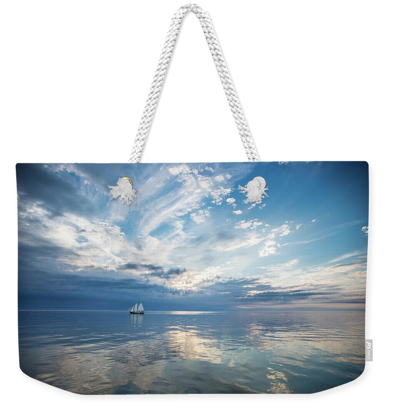 Tranquility Weekender Tote Bag featuring the photograph Tall Ship On The Big Lake by Rudy Malmquist