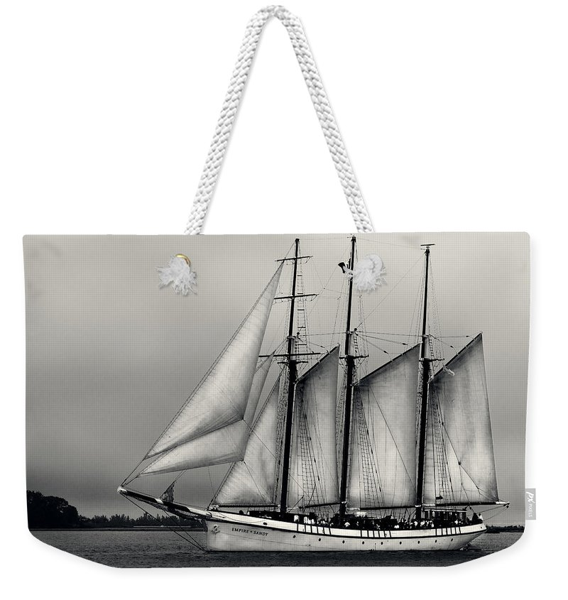 Boating Weekender Tote Bag featuring the pyrography Tall Ships Sailing Boat by Peter v Quenter