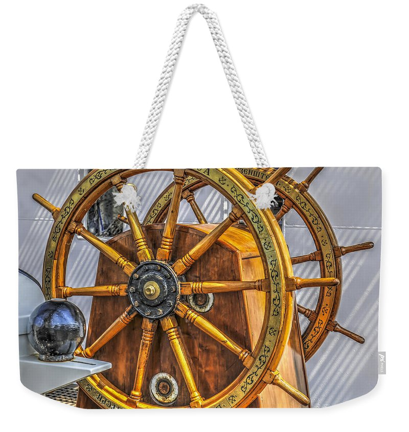Tall Ship Weekender Tote Bag featuring the photograph Tall Ships Wheel by Dale Powell