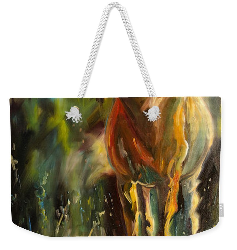 Moose Weekender Tote Bag featuring the painting Taller Than That Moose by Diane Whitehead
