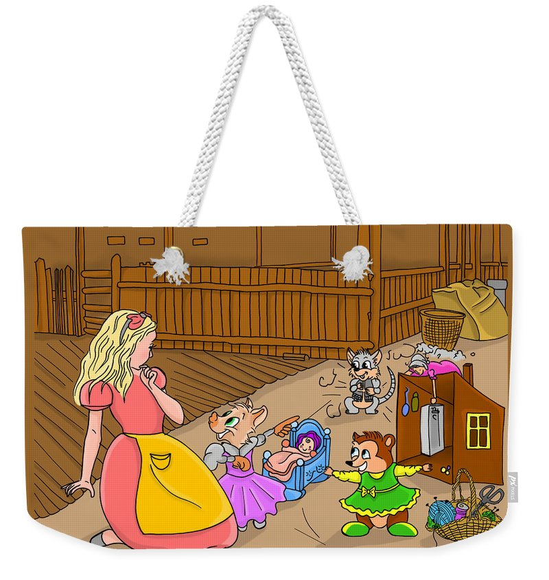 Wurtherington Weekender Tote Bag featuring the painting Tammy And Her Playmates by Reynold Jay
