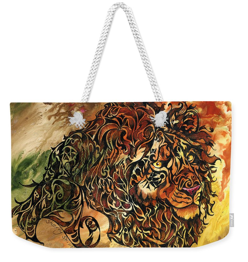 Lion Weekender Tote Bag featuring the mixed media Tangled Lion by Sherry Shipley