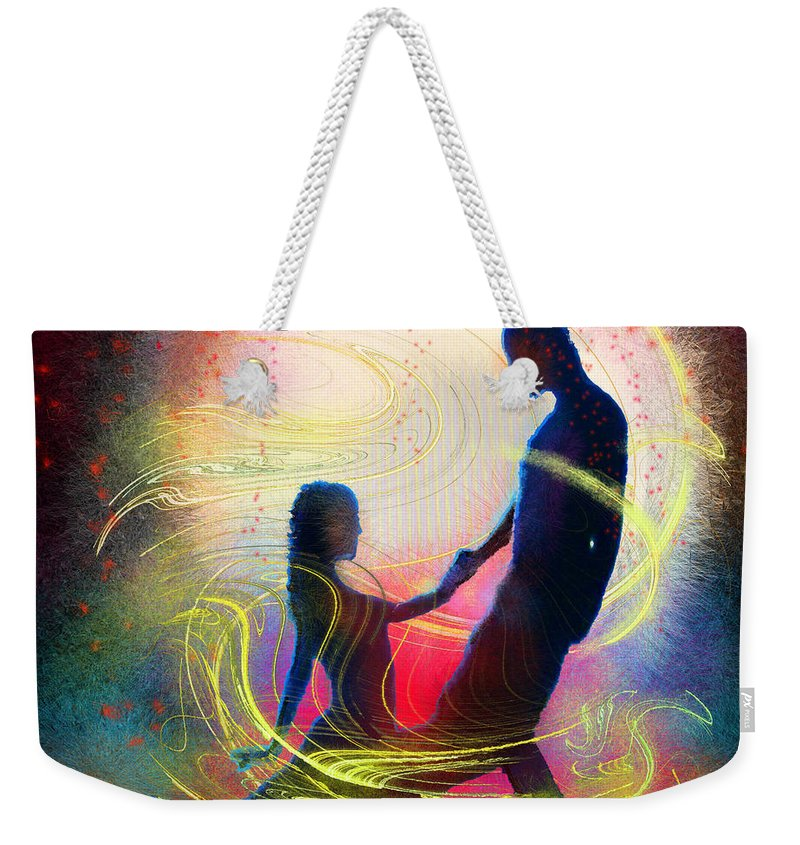 Music Weekender Tote Bag featuring the painting Tangoscape 01 by Miki De Goodaboom