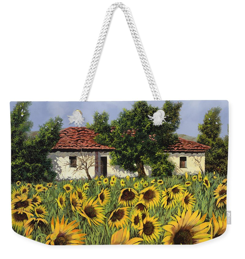 Tuscany Weekender Tote Bag featuring the painting Tanti Girasoli Davanti by Guido Borelli