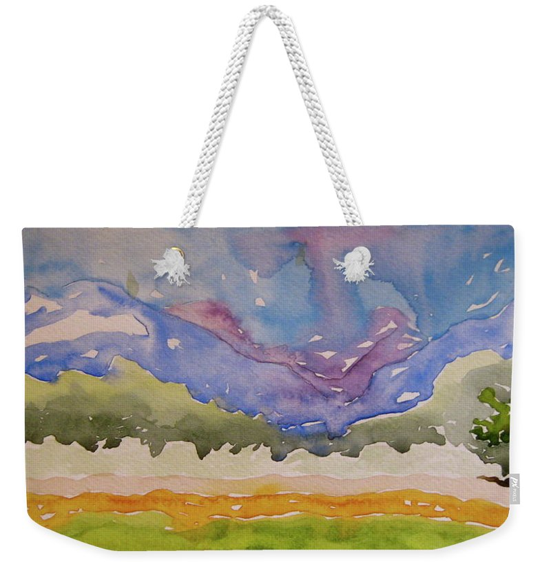 Landscape Weekender Tote Bag featuring the painting Taos Fields by Beverley Harper Tinsley