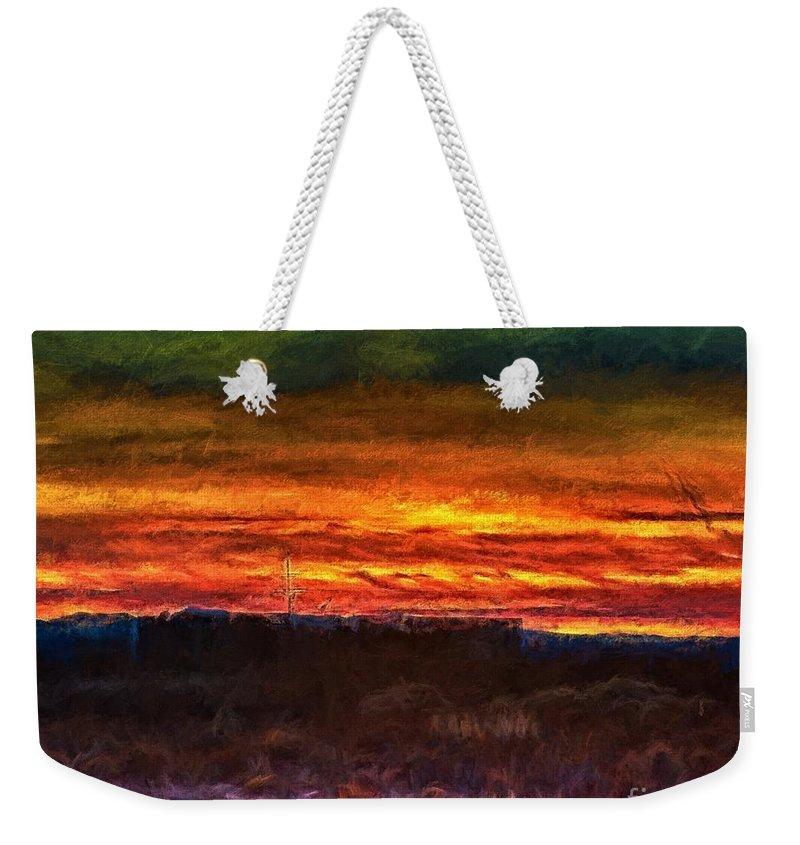 Vivid Weekender Tote Bag featuring the painting Taos Sunset Lx - Homage Turner by Charles Muhle